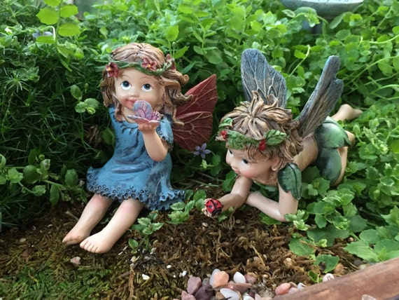 Fairy Boy and Girl Flower Crown Figurines, 2 Piece Set, Fairy Garden Accessory, Garden Decor, Toppers