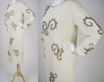 Vintage 1980s Dress, Lovely for a Wedding, Ivory / Cream Long Sleeve Shift with Silver Bugle Beads and Swirled Designs, Size M B36