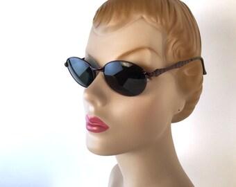 Vintage 90s, YSL Purple Diamond Sunglasses, Yves Saint Laurent, Oval Frame, Charcoal Gray Lens, Monogrammed, Model 6049, Deadstock