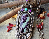 You Belong Among the Wildflowers - Kammererite, Amethyst, & Nacozari Turquoise Sterling Silver Necklace Pendant
