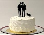 Gay Wedding Cake Topper + CAT Same Sex Mr & Mr Cake Topper 2 Grooms Gay Cake Topper Gay silhouette Homosexual Wedding Cake Topper For Men