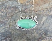 Variscite Necklace in Fine Silver. Designer Cabochon Jewelry for Charity. NC36