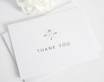 Thank You Cards - Cross Monogram Design
