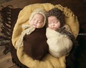Ready to Ship, Twin Crochet Newborn Baby Mohair Hats, Photo Prop, Photography Prop, Shower Gift,  Christmas Gift, Bonnet, Brown, Beige