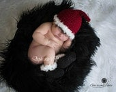 Ready to Ship, Crochet Newborn Baby Christmas Santa Claus Stocking Cap & Boot Set, Holiday, Hat, Photo Prop, Shower gift, Booties, Handmade