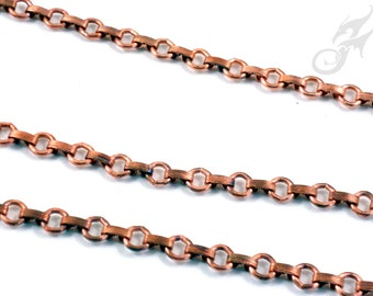 Reserved for Ali!!! Solid Raw COPPER 8mm Link & Connector Chain BULK Footage NOT Plated Open Links COPB300