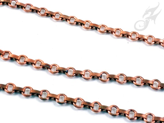 Solid Raw COPPER 8mm Link & Connector Chain BULK Footage NOT Plated Ideal For Bracelets Made In America Open Not Soldered COPB300