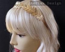 Gold Greek Goddess Laurel circlet (Athena Design, 4 color option) Olive branch Leaf headband vintage 1940 bridal style,larp,elven princess