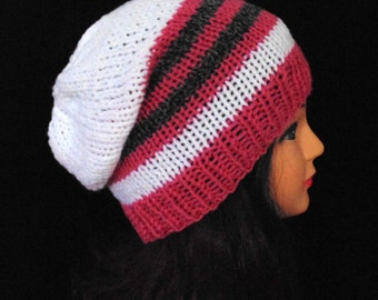 Slouchy Knit Hat, Winter Hat, Fall Hat, Pink, White and Grey Hat, Womans Accessories, Striped Womans Hat