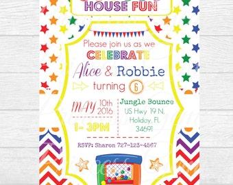 PRINTABLE Birthday Invitation - Rainbow, Bounce House, Twins, Boys, Girls