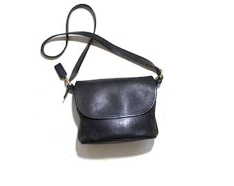 Vintage Coach Bag / Coach Fletcher Bag / Black Coach Purse / Distressed Leather Bag