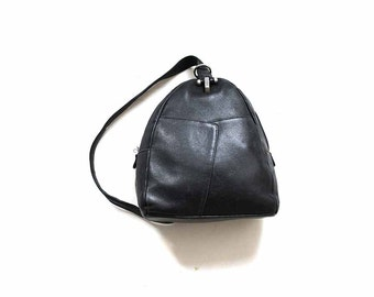 Vintage Leather Backpack / Black Leather Backpack / Leather Knapsack / Sling Backpack