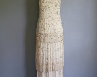Vintage GREAT GATSBY Art Deco SEQUINED Tiered Champagne Gown Dress (m)