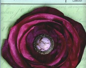 Petaloo Polyester BOHEMIAN Frayed Fabric Flowers  - FUCHSIA floral embellishments with Medallion bead center