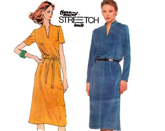 Simplicity 9596 Womens Easy Stretch Knit Dress 80s Vintage Sewing Pattern Size 10 12 14 Bust 32 34 36 inches UNCUT Factory Folds