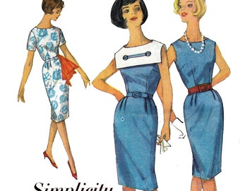Simplicity 4431 Sailor Dress Pattern Detachable Collar 60s Vintage Sewing Pattern Size 12 Bust 32 inches UNUSED Factory Folded