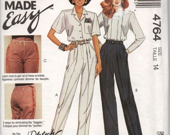 McCall's 4764 Womens Perfect Pleated Pants Pattern Out Of Print Fitting Shell Toile Size 14 Waist 28 inches UNCUT Factory Folded