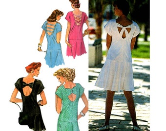Simplicity 7221 Drop Waist Dress 90s Sewing Pattern Back Detail Variations Sizes 6 - 24 UNCUT Factory Folded
