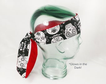 Day of the Dead Sugar Skull Head Wrap Headband Glow in the Dark Accessory Skull Bandana Halloween Hair Glo Red Black Dia De Los Muertos