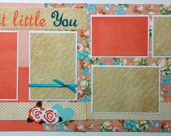 Baby girl scrapbook page - 12x12 premade scrapbook page baby girl - 12x12 premade scrapbook layout - 12x12 premade baby girl scrapbook