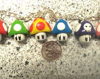 Super Mario Inspired Multi Mushroom Bracelet