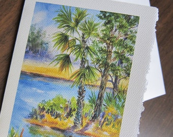 Florida Inlet, 5 x 7 Note Card watercolor printy greeting Landscape Tropical