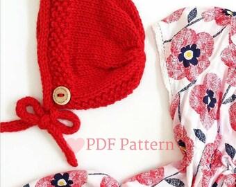 Knit Bonnet Pattern, Knitting Pattern For Baby, Baby Bonnet, Vintage Knit Bonnet, PDF Knitting Pattern, Vintage Baby, Baby Gift, Girl Bonnet