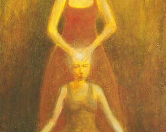 Very large oil painting - Giving and Receiving - deeksha painting - spiritual exchange 48x72 with golden glazed layers of oil paint