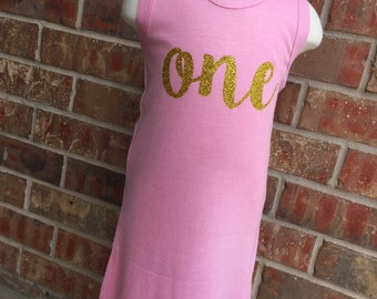 Soft Pink Tank Top Dress with Glitter Gold Number