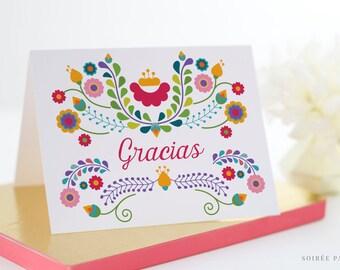 Gracias, Thank You Card, Set of 10 | Fiesta, Birthday, Mexican, Dia De Los Muertos, Cinco De Mayo, Bridal Shower, Wedding | Julieta