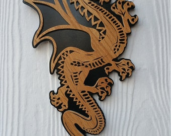 DRAGON wall Plaque, a fretwork design made of American renewable hardwoods.