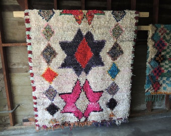 BOHO Chic Rug Vintage Moroccan Boucherouite in Multi Colors with Star Patterns (Los Angeles)