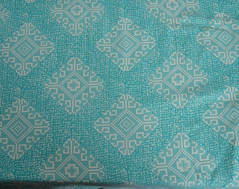 Vintage 1940s Teal Rayon Fabric - Cross Stitch Snowflake Print Yardage - Sewing Supplies