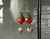 Dark Red Crystal Earrings Unique Copper Puffed Heart Earrings Swarovski Crystals Green Drops Vintage Antique Brass Valentine Gift Wife