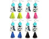 Leather Earrings, Fringe Earrings, Tassel Earrings, Marble Earrings, Modern Earrings, Neon Earrings, Marbled Earrings, Statement Earrings