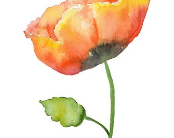 Poppy Watercolor Painting - 11 x 14 - Giclee Print - Floral Painting - Flower