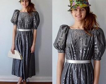 Vintage Title Original Silver Metallic Dress, Title Original, Evening, Party Dress, 1960s Dress, 1960s Title Original, Silver Dress