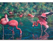 "Fine Art Prints - Flamingos - UV Printing on 12"" * 18""  premium plywood / gallery canvas wrap / acrylic wall canvas hanging decors pa002"