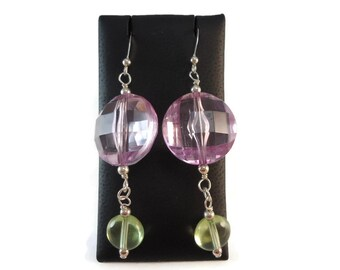 Chunky Purple Drop Earrings Silver Wire Wrap, Purple and Green Earrings Sterling Silver Jewelry, Clear Green and Purple Jewelry Acrylic