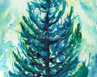 Commission a 5x7 Special Christmas Tree watercolor painting Original
