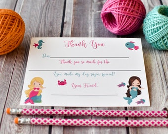 Mermaid Kids Fill In the Blank Thank You Notes / Mermaid Thank You Notes / Childrens Thank You Note Cards / Fill In The Blank Mermaid Design