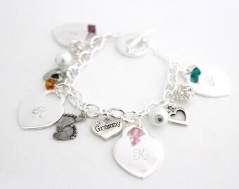 Grandma Charm Bracelet, Personalized Grandmother Gift, Personalized Grandma Gift, Personalized Grandma Bracelet, Grandma Christmas Gift