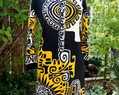 1970's Paganne Gene Berk Abstract Graphic Dress Size 8 Small Vintage Retro 70's Black Yellow White Sun North Pacific Aztec Eagle Designer