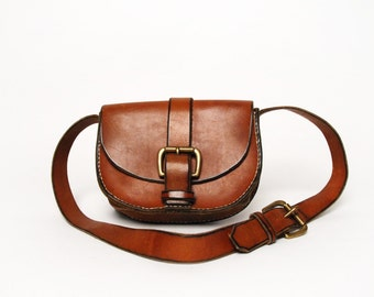 Vintage Leather Purse with Adjustable Strap and Buckle