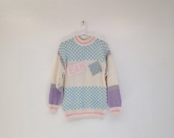 Vintage 1980s Radical Pastel Chunky Knit TEAM Pullover Sweater