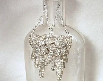 OOAK 1930s Art Deco Earrings, Paste Rhinestone Dangle Bridal Earrings, Sterling Silver Vintage Wedding, Dress Clip Long Statement Earrings