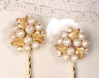 OOAK Vintage Gold Ivory Pearl Rhinestone Bridal Hair Clips, Pair Gold Hair Pins Wedding Bobby Pins Set 2 Bridesmaids Gift Mother Bride Groom