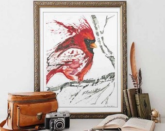 Cardinal Watercolor Print, Watercolor Bird Prints, Watercolor Animal Prints, Bird Lover Gift, Cardinal Gifts, Cardinal Art Memorial Gift