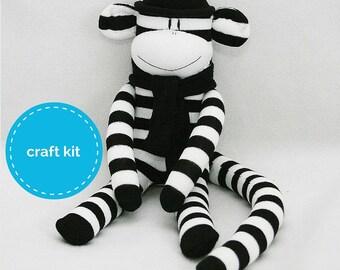 Stuffed toys, Sock Monkey Craft  Kit - Black and White Stripes, Toy Pattern