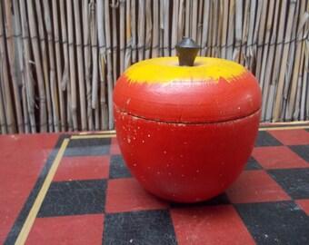 Vintage Wooden Red Apple Stash Box